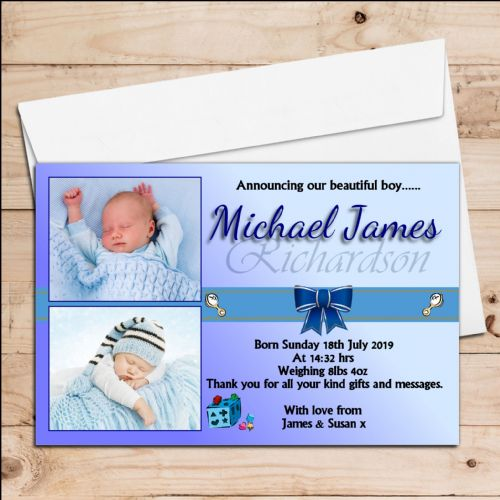 10 Personalised Baby Boy Birth Announcement Thank You Cards N61